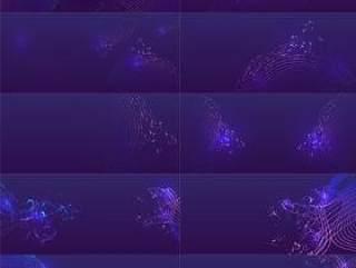 22款时尚潮流梦幻舞台设计紫色背景板展板曲线唯美底纹AI矢量分层素材