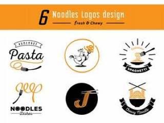 六个面条标志设计与黄色耐嚼面条