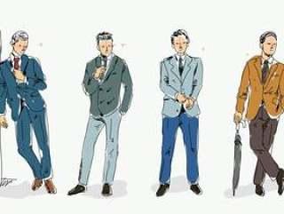 无尾礼服时装模特素描手绘矢量图