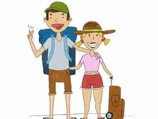 可爱幸福的夫妇与旅行的衣服