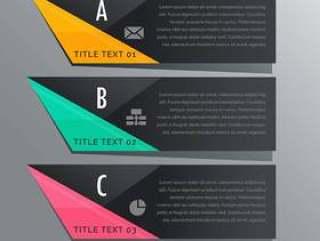 黑暗的主题三个步骤图横幅与业务图标
