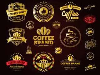 金色咖啡标志徽章和标签元素矢量素材下载