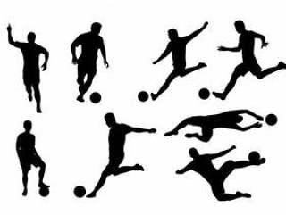 剪影套行动的足球运动员