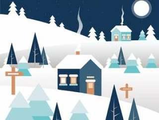 矢量冬季景观图