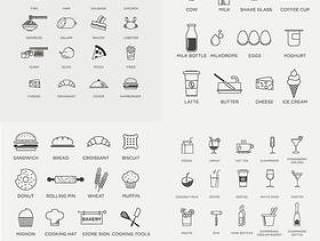 线性美食图标