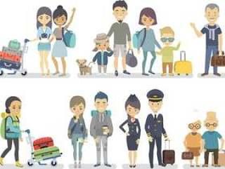 旅游人物矢量