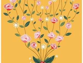 国际妇女节花卉心海报
