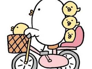 鸡父母和孩子骑自行车