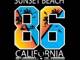 T恤杉和其他用途的加利福尼亚日落海滩印刷术