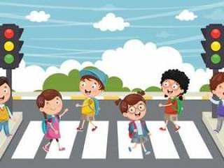 走横穿行人穿越道的孩子的例证