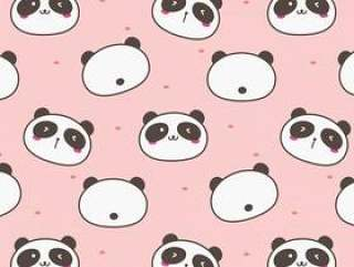 可爱的熊猫图案背景。