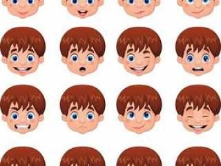 小男孩各种各样的面孔表示