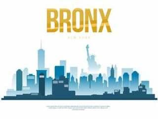 布朗克斯市天际线剪影矢量图