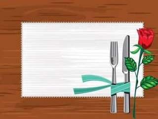 模板关闭板与刀和叉子和餐巾在桌子上