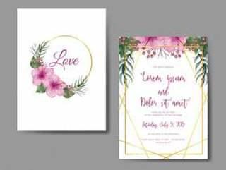 婚礼与花木槿桃红色的邀请卡片