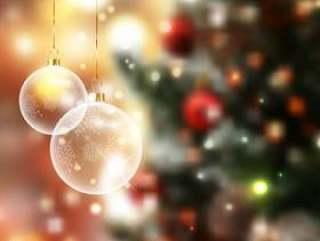 散焦的灯背景上的圣诞小玩意