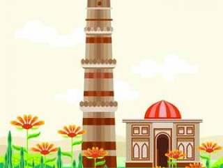 Qutub Minar,联合国教科文组织世界遗产之一,建于13世纪初位于印度德里南部