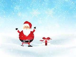 圣诞老人和礼物在多雪的风景