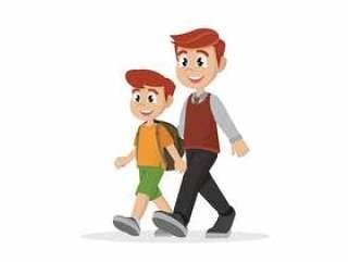 父亲带领儿子上学。