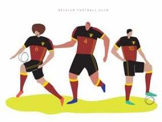 比利时世界杯足球运动员平面矢量字符图