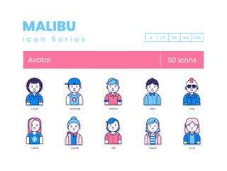 用户头像,用于您的Web,应用程序,营销传播和演示设计,50个用户头像