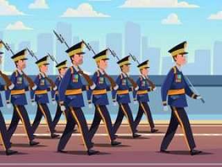 军事游行队形成