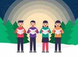 快乐的孩子们唱圣诞颂歌