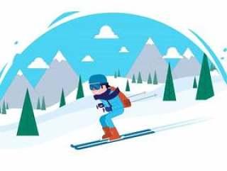 矢量滑雪者字符图
