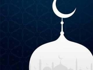 创意伊斯兰设计与清真寺剪影