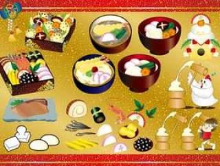 日本新年假期与食物有关的日本装饰品