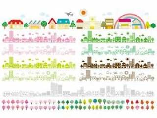 城市景观徒步旅行飞机彩虹路市区插画图片