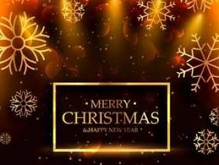 豪华风格圣诞快乐圣诞背景与雪花和光