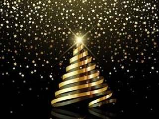圣诞节背景与金星五彩纸屑和金丝带树