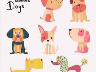 向量套逗人喜爱的平的动画片狗