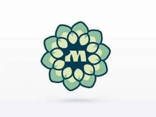 美丽的花或曼荼罗风格标志设计