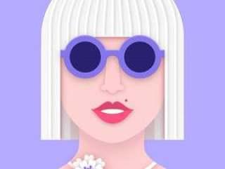 现代女人的脸在纸分层的艺术风格