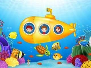 潜水艇的小孩在海