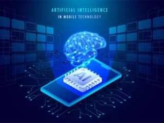 移动技术概念中的人工智能矢量素材下载