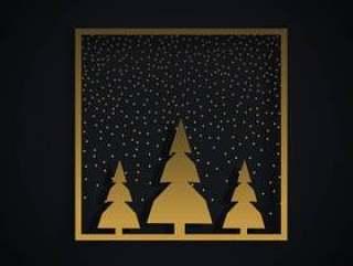 与三棵树和金黄fr的惊人的圣诞节节日设计