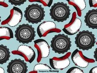 卡车司机帽子和卡车车轮无缝模式 - 矢量