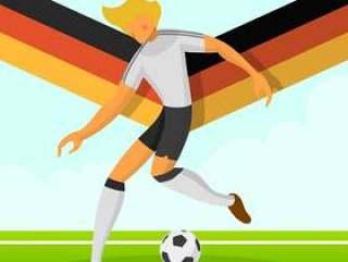 现代简约德国足球运动员世界杯2018运球与渐变背景矢量图