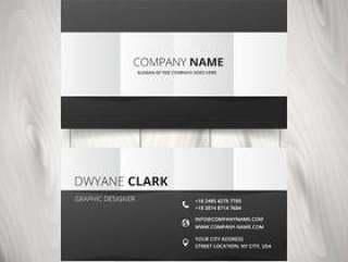 黑色和白色清洁名片矢量设计