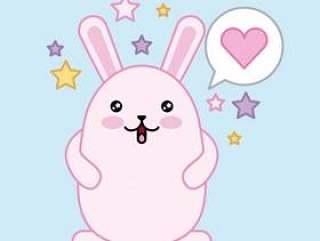 复活节天kawaii泡影心脏愉快的兔子许多担任主角蓝色背景