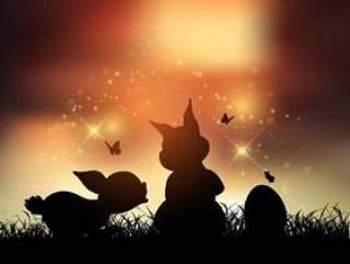 在日落时的复活节兔子