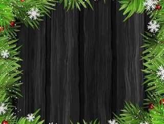 圣诞树枝上木背景