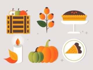 的平面设计矢量秋天图标和元素