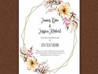 水彩花卉框架婚礼邀请卡