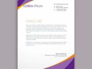 时尚紫色波信纸模板矢量设计插画