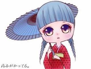和服女孩指着一把雨伞(蓝色系列)