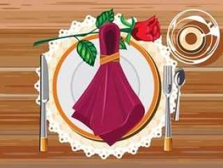 棕色表白餐厅用刀,叉和餐巾餐巾